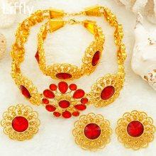 Liffly כלה תכשיטי סט ניגרי חתונה דובאי זהב תכשיטי סטים לנשים אפריקאי גדול פרחי שרשרת עגילי תכשיטים(China)