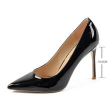 Женские туфли-лодочки на тонком высоком каблуке, из кожи, с острым носком, на лето, 2020(China)