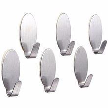 6 sztuk Stick On srebrny haczyk mocny samoprzylepny przyklejony na płaszcz kapelusz metalowy wieszak strona główna łazienka kuchnia uchwyt ze stali nierdzewnej(China)