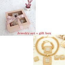 Liffly מתנת כלה אופנה תכשיטים אפריקאים סטי גדול שרשרת תליון שרשרת דובאי זהב תכשיטים לנשים(China)