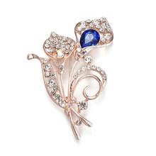 Iyoe Gaya Modern Logam Antik Kristal Daun Bros Pin Aksesoris Rhinestone Biru Bunga Jantung Vintage Bros Wanita(China)