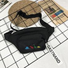 Женская большая поясная сумка с милым рисунком динозавра из мультфильма, женская сумка для мобильного телефона Harajuku, черный, фиолетовый, ба...(China)