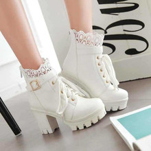 Sıcak satış sonbahar kış kadın Martin çizmeler kalın Platform tıknaz yüksek topuklu 9.5cm siyah beyaz dantel kadın kış çizmeler B03(China)