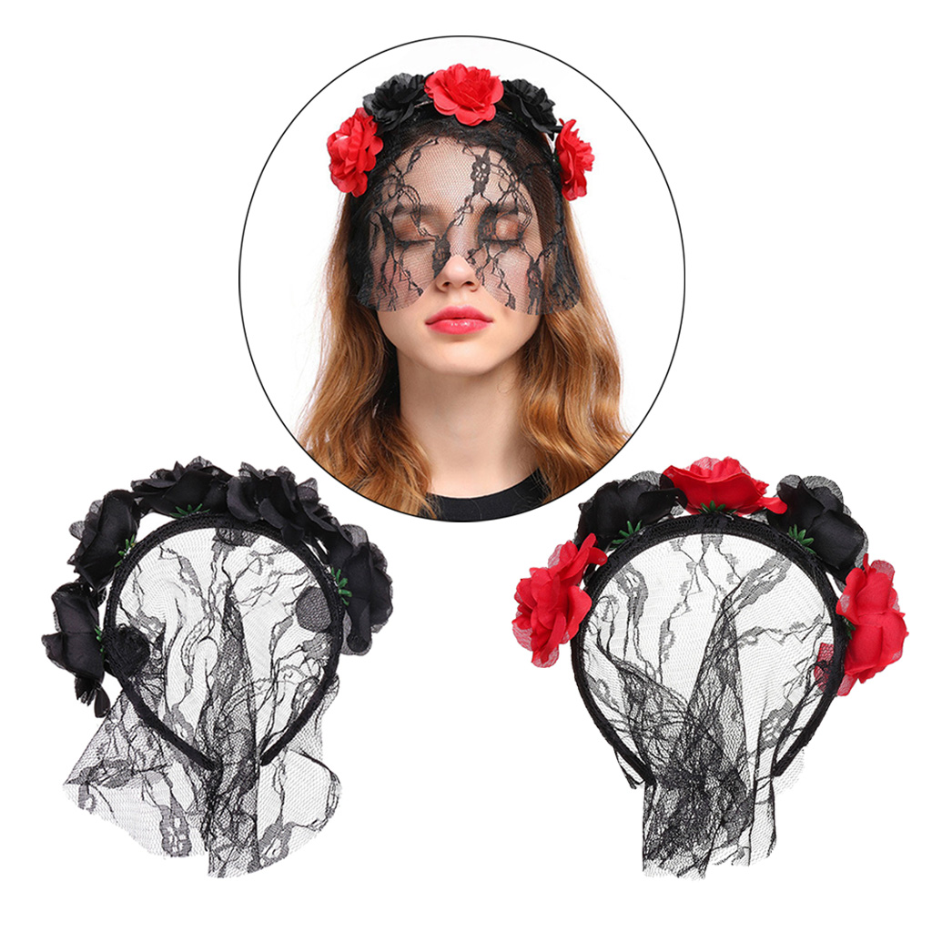 Adults Party Christmas Festival Hair Accessory  Wedding Headpiece Dress Headwear Black Red Flower Headband with Veil Floral