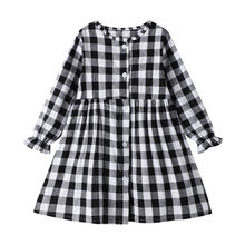 Red Toddler Kid Dress Girl Long Sleeve Casual Girl Dress Fall Spring Plaid Baby Girl Clothes Girl Clothes Dress Vestido Infantil(China)