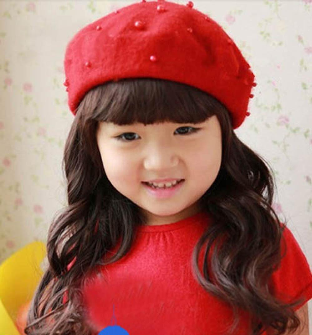 Kids Pearly Headgear Warm Beret Hat Autumn Winter Elegant Girls Caps Hats