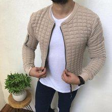 2019 mannen Herfst Plaid Slim Fit Jacket Lange Mouwen Rits Jas Streetwear Effen O Hals Overjas Mannelijke Casual Hip hop Man Jas(China)