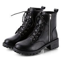 Motosiklet botları bayanlar Vintage savaş sonbahar çizmeler Punk gotik kış kadın çizme kadın Biker PU deri kısa çizme ayakkabı # l10(China)