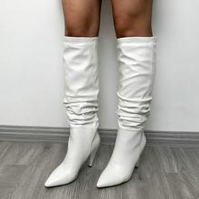 2020 damen Slouch Falten Stiefel Schwarz Rot Braun Spitz Dick Kopf Stiefel Frau Mode Wildleder Leder Knie Hohe Stiefel Winter(China)