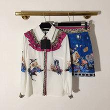 11.3 אופנה חדשה טמפרמנט קטן כבשים פרח סל דפוס חולצות + גבוהה מותן ואגלי אונליין חצאית חליפה(China)