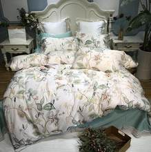 Silky Egyptian cotton Yellow Chinoiserie style Birds Flowers Duvet Cover Bed sheet Fitted sheet set King Size Queen Bedding Set(China)