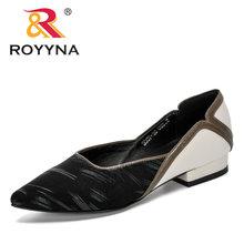 ROYYNA; Новинка 2020 года; дизайнерские модные стильные туфли-лодочки с острым носком; женские модельные водонепроницаемые мокасины на низком ка...(China)