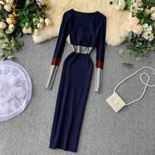 השיר הראשון נשים של חגורת עגול צוואר לסרוג סוודר שמלת New2019 סתיו ארוך שרוול אלגנטי תפרים Bodycon נשים של ארוך שמלת XL(China)