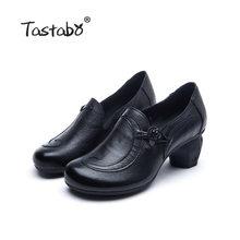Tastabo manuel Hakiki Deri yüksek topuk kadın çizmeler Siyah kahverengi Vintage doku S90839 Günlük kadın ayakkabısı Rahat astar(China)