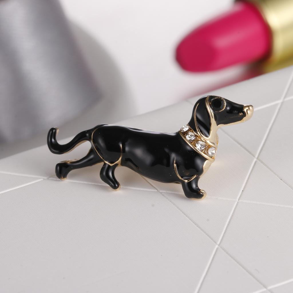 Cute Crystal Rhinestone Dachshund Dog Animal Brooch Pin Women  Jewelry Gift