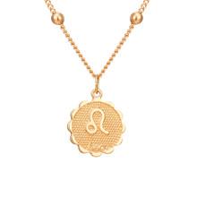 12 constelações moeda pingentes colar ouro signo do zodíaco áries leo colar feminino jóias doze horóscopo clavícula colar(China)