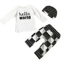 ฤดูใบไม้ร่วงฤดูหนาวเด็กทารกเสื้อผ้าชุดผ้าฝ้ายชุด + กางเกง + หมวกทารก(China)
