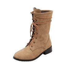 MoonMeek grande formato 34-46 stivali della caviglia di modo per le donne punta rotonda stivali autunno inverno croce legato med tacchi scarpe da donna stivali(China)