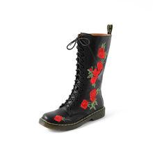 Asumer Mới 2020 Chính Hãng Giày Da Nữ Hoa Mũi Tròn Med Gót Giày Nữ Giày Khóa Kéo Thu Đông Giữa Bắp Chân giày(China)