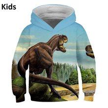 Новинка 2020 года; детский комплект одежды с динозавром из парка Юрского периода; детская толстовка с капюшоном с 3d принтом; толстовки с капюш...(China)