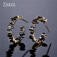 ZAKOL อินเทรนด์ AAA Cubic Zirconia T ต่างหูหินสำหรับผู้หญิงแฟชั่นวงกลมเจ้าสาวงานแต่งงานอุปกรณ์เสริม FSEP2174(China)
