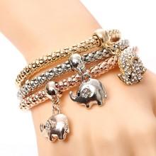 3 יח'\סט ינשוף קריסטל לב צמיד & צמיד זהב/Silverized פיל עוגן תליון נקבה ריינסטון צמיד מתנה(China)