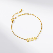 Biżuteria na zamówienie spersonalizowany stary angielski numer 1990 do 2019 bransoletka Anklet rok urodzenia rocznica ślubu prezent BFF Pulseras(China)