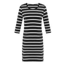 Livraison gratuite femmes à manches longues noir blanc rayé col rond moulante Sexy Slim robes pour automne S-XL taille(China)