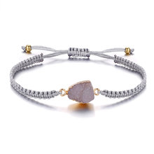 Se me moda encantos resina pedra trançado corda pulseiras para mulheres menina boho artesanal grânulo druzy ajustável pulseira jóias novo(China)