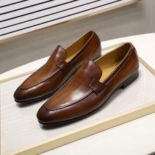 FELIX CHU Tasarımcı Moda Erkek Mokasen Deri El Yapımı Siyah Kahverengi Casual İş Elbise Ayakkabı Parti Düğün erkek Ayakkabı(China)