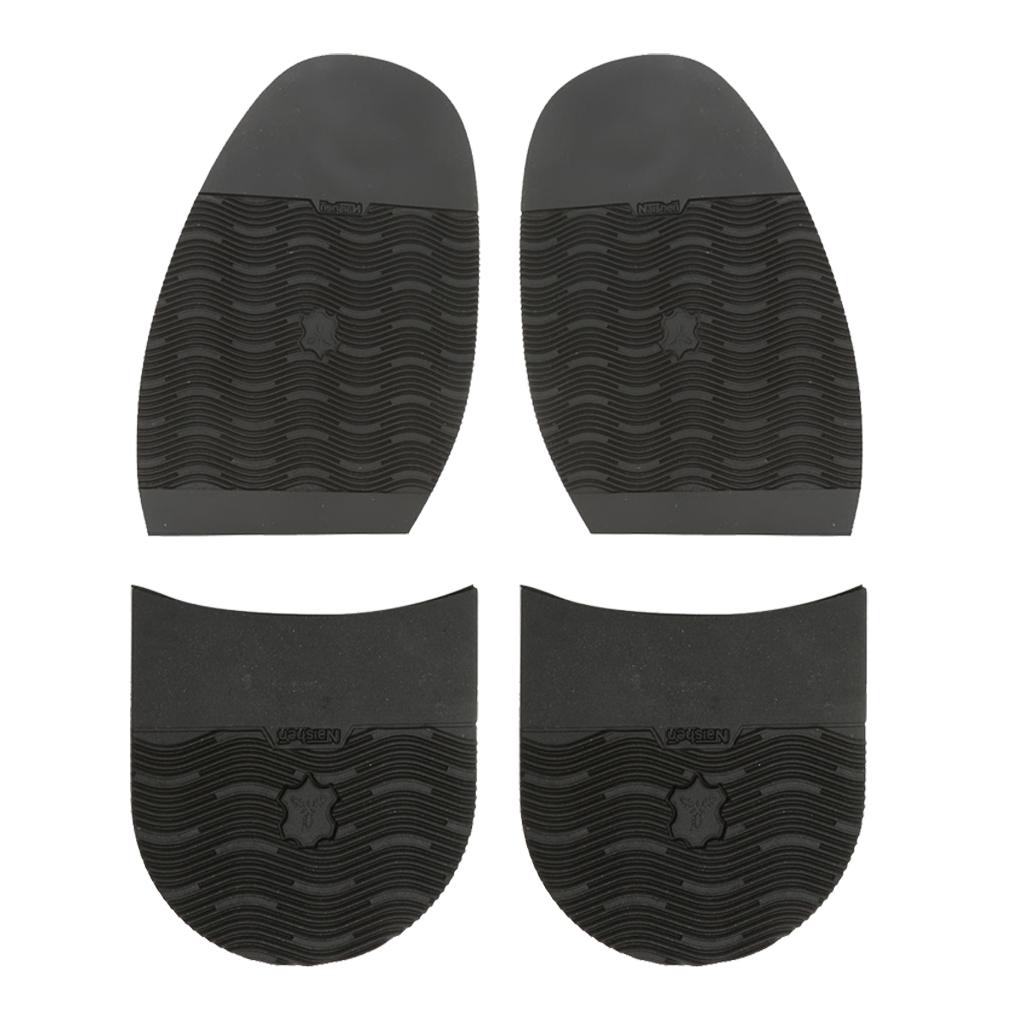 Pack of 4 Men's Shoes Repair of Rubber Stick On Soles Half Anti Slip of Black