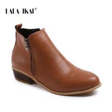 LALA IKAI kadınlar 2020 Chelsea yarım çizmeler İlkbahar sonbahar seksi düşük topuklu platformu bayanlar PU deri Vintage batı ayakkabı XWC6776-4(China)