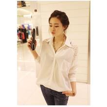 M-4XL Женская кружевная блузка большой размер модные свободные топы рубашки(China)