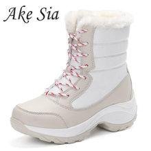 Frauen Stiefel Winter Schuhe Frauen Schnee Stiefel Frauen Plus Größe Heißer Plattform Stiefel Winter Weibliche Warme Botas Mujer 2019 Weiß booties(China)