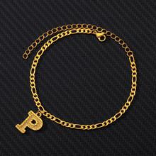 Женские ножные браслеты из нержавеющей стали с буквенным принтом золотого алфавита, браслет на ногу в стиле бохо, ювелирные изделия, подарк...(China)