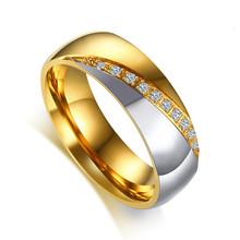 Vnox złoty kolor obrączka ślubna dla kobiet mężczyzn biżuteria pierścionek zaręczynowy ze stali nierdzewnej para prezent na rocznicę(China)