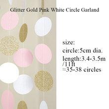 (بريق الذهب والوردي والأبيض) 11 قدم دائرة جارلاند البولكا نقطة إكليل من الورق صور خلفية الزفاف دش الزفاف ديكور معلق(China)