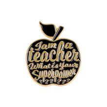 Guru Enamel Kutipan Aku Seorang Guru Lencana Bros Merah Muda Merah Apple Kerah Pin Lencana Tanaman Buah Perhiasan Hadiah(China)