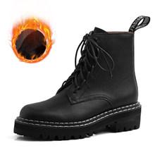 VAIR MUDO 2019 yeni kış yarım çizmeler hakiki deri dantel-up el yapımı siyah kadın ayakkabı sıcak rahat bayan botları DX18L(China)