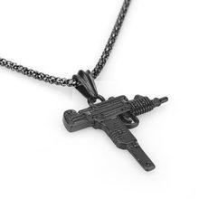 2019 nowy AK-47 obrotowy pistolet pistolet maszynowy hip hop złoty srebrny kryształowy naszyjnik iced out kubański łańcuch biżuteria(China)