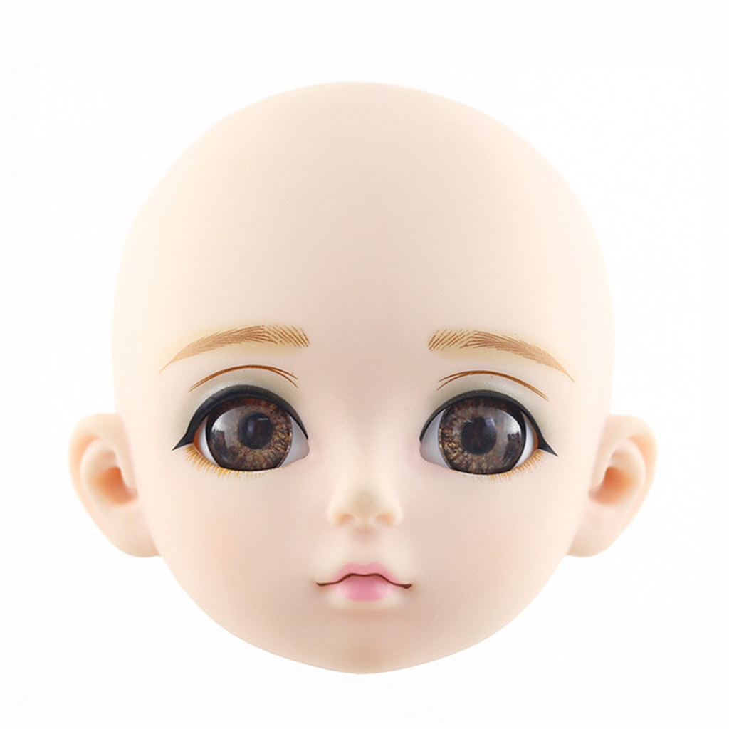 1/3 BJD Head Face Mold with 3D Eyes, Doll Replacement Body Parts, Make Up Eyes Eyelash Extensions, for Hair Styling Cosmetology