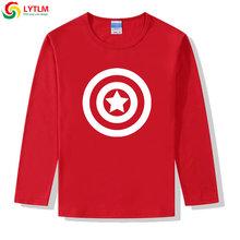 LYTLM Marvel Avengers odzież chłopcy koszulki kapitan ameryka tarcza T Shirt XXX chłopców i dziewcząt bawełna dzieci bluzki z długim rękawem dzieci w wieku 8(China)