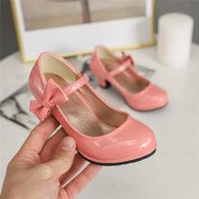 ילדים של נעלי ילדים גבוהה עקבים 2020 חדש אביב סתיו עור נסיכת נעלי בנות קוריאני ילד גבוהה עקבים עם קשת אבזם(China)