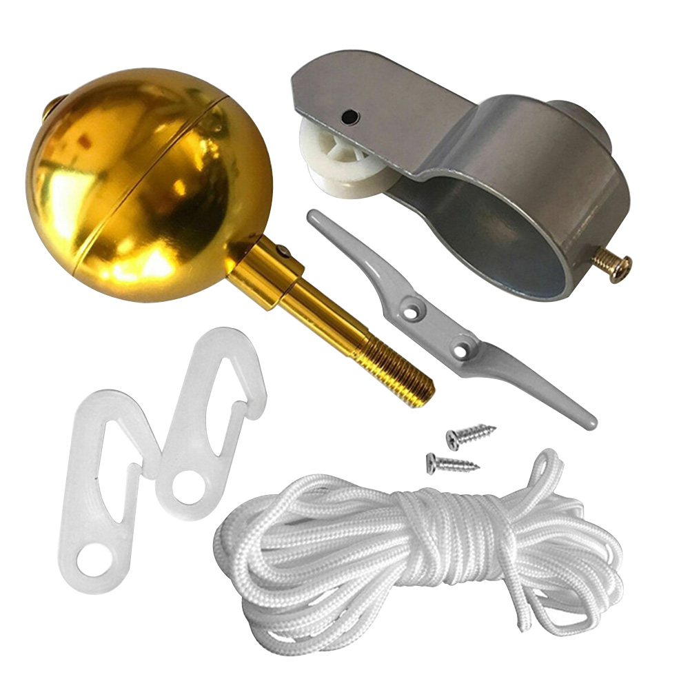 Repair Outdoor Rope Flagpole Accessories Kit Cleat Clip Round Shape Gold Ball