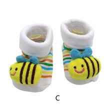 Komik sevimli karikatür 】Newborn bebek kız erkek kaymaz çorap terlik ayakkabı botları ayak bileği kısa kadın çorap nefes sonbahar(China)