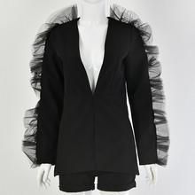 Townlike Уникальный Женский костюм с рюшами, женские костюмы, офисные комплекты, повседневный Блейзер и шорты, комплект, официальный, Terno Feminino(China)