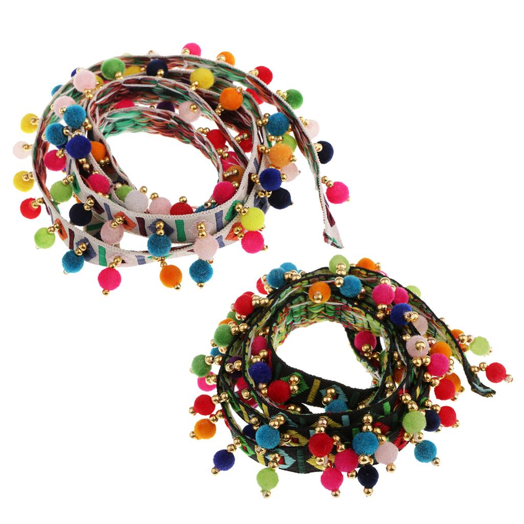 2 Pieces Ethnic Style Rainbow Pom Pom Ball Bobble Tassel Fringe Trim Ribbon Sewing Appliques