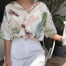 Свободная Гавайская ветровка женская летняя Свободная блуза с v-образным вырезом и принтом Гавайи с короткими рукавами и лацканами(China)