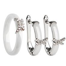 Gold Schmetterling Ringe und Ohrringe AAA Strass Gesunde Keramik Schmuck sets Frauen Mom Geschenk Schmuck Für Hochzeit Zubehör(China)