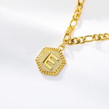 26 początkowa list złoty naszyjnik lub bransoletka obrączki klasyczne i moda ze stali nierdzewnej kwadratowe wisiorek biżuteria prezenty kobiety mężczyźni(China)